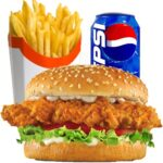 1 x Chicken Burger, Chips and Can Of Drink